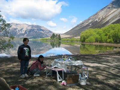 Picnic lunch in the Southern Alps