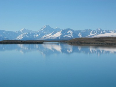 Mount Cook viewed in the Lake Tekapo Canal